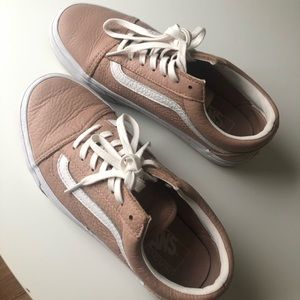 VANS Pink Rose Mauve Leather Sneakers Shoes